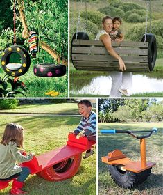 Diy home decor Kids Outdoor Play, Kids Play Area, Outdoor Toys, Backyard Toys, Backyard For Kids, Backyard Projects, Tire Playground, Small Patio Ideas On A Budget, Tire Furniture