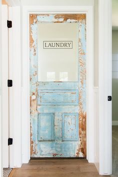 Custom laundry door with original vintage paint - by Rafterhouse.