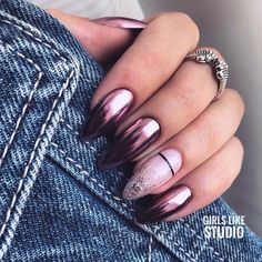 Get motivated by among the 12 most beautiful nail designs in this report if you are tired of the French manicure. Hard Gel Nails, Aycrlic Nails, Oval Nails, Cute Nails, Hair And Nails, Stylish Nails, Trendy Nails, Matte Pink Nails, Dark Nails