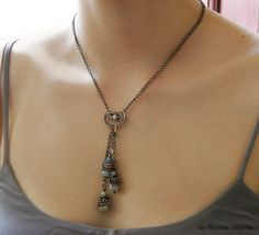 Mavelle wire wrapped necklace aquamarine copper от MeaJewelry, £32.00