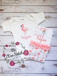 Bringing Home Baby Flamingo Outfit Applique by TheOliveHatch