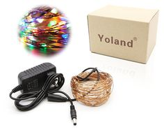 Yoland 100 LED Copper Wire Starry String Lights with 12V AC/DC Power Adapter, 33 Feet, Multi-Colored => New and awesome product awaits you, Read it now  : Christmas decor