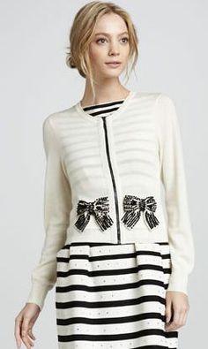 striped dress + bow cardigan :: love!