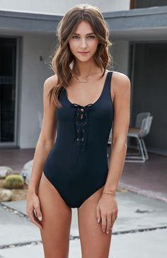 LA Hearts Lace-Up One Piece Swimsuit