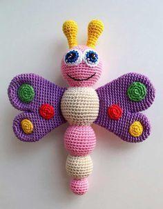 Crochet butterfly baby rattle - free pattern