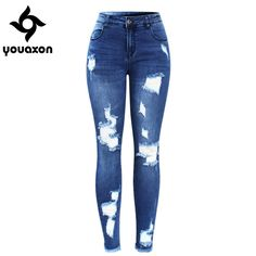 Stretchy Ripped Denim Pants For Women Pencil Skinny Jeans
