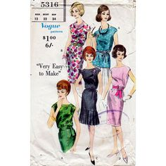 1960s Sheath Dress or Blouse Pattern Vogue 5316 by BessieAndMaive