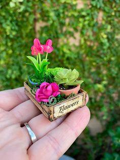 Crate of flowers dollhouse miniature fairy garden flowers