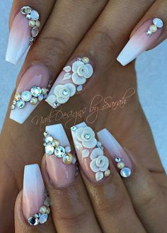 Floral white rhinestone nails