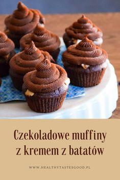 Pyszne czekoladowe muffiny z kremem czekoladowym na bazie zaskakującego składnika - batatów.