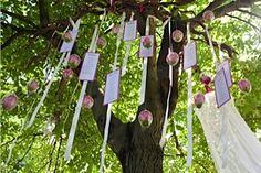 Tableau originale.I cartoncini ,con i nomi degli invitati,vengono appesi ai rami di un albero,tramite dei nastri. #tableaumariage