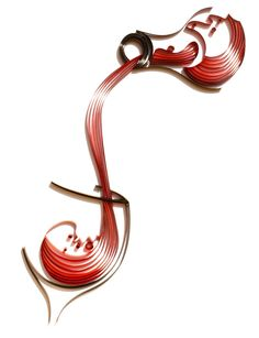 Strands of paper are quilled to form this beautiful silhouette of red wine being poured into a wine glass. The glistening red hues of the pouring wine adds a touch of uniqueness making this piece truly special.