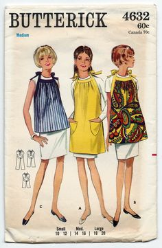 Women's Full Apron Gathered To Contrast Or Self Bands Back Tie And Button Closure In Three Lengths Size Medium Sewing Pattern Butterick 4632 Vintage Apron Pattern, Coat Pattern Sewing, Vintage Sewing Patterns, Clothing Patterns, Robes Vintage, Vintage Outfits, Vintage Fashion, Vintage Clothing, Simplicity Sewing Patterns