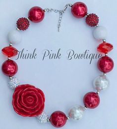 Red and White Rose Necklace