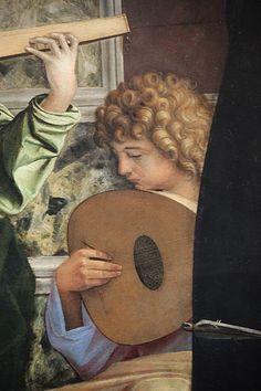 Giovanni Bellini - Angelo musicante, dettaglio Pala di San Giobbe - 1487 circa - Gallerie dell'Accademia di Venezia.