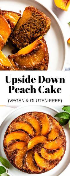 Enjoy this gluten-free, vegan peach cake with guilt-free. Peach Cake Recipes, Fresh Peach Recipes, Easy Vanilla Cake Recipe, Dessert Cake Recipes, Healthy Dessert Recipes, Baking Recipes, Desserts, Gluten Free Recipes For Lunch, Gluten Free Cakes