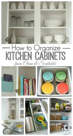 Lots of tips and ideas for organizing kitchen cabinets and drawers.