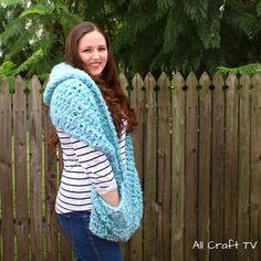 Crochet Ocean Breeze Hooded Pocket Scarf - All Craft TV Boho Crochet Patterns, Crochet Shawl, Knit Crochet, All Craft, Crochet Clothes, Scarfs, Breeze, Hoods, Ocean