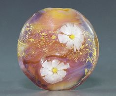 Handmade Lampwork focal silver glass flower by ikuyoglassart, $30.00
