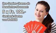 Gewinne mit #Weltbild 5 x 1 Weltbild Geschenk-Karte im Wert von je CHF 100.- Zum möglichen Gewinn: http://www.alle-schweizer-wettbewerbe.ch/gewinne-weltbild-geschenk-karten-im-wert-von-je-chf-100