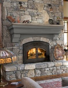 Cottage Fireplace, Fireplace Shelves, Home Fireplace, Fireplace Surrounds, Mantel Shelf, Fireplace Ideas, Stone Fireplace Makeover, Stone Fireplace Decor, Stone Fireplace Designs