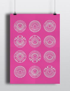 LE Geometric Fuchsia Pink and Metallic Silver Screen Print One Of A Kind