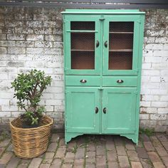 Gorgeous Retro Kitchen Hutch. Lightweight Oak Timber. Revamped In A Mint  Green And Distressed