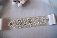 crystal bridal sash applique, pearl beaded bridal belt applique, rhinestone applique for wedding sash ZP058