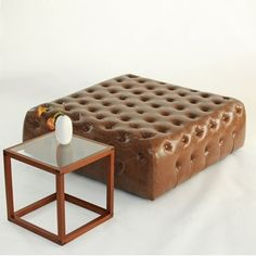 tufted collection brown - brown crackle leather tufted ottoman. custom made in our Taylor Creative studio