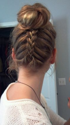Upside-Down Braided Bun! Had this hairstyle except with curls for my communion as a youngster! Totally wanna try it again sometime.