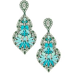 Angelique de Paris Starlight Green Featherlight Cluster Earrings ($40) ❤ liked on Polyvore
