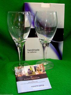 "Handmade Dartington Crystal Glasses Eleanor Design 8.5"" high Boxed New | eBay"
