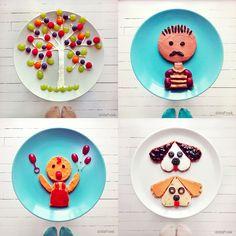 Perfil de Ida Frosk, que posta belas fotos de comidas dispostas de formas divertidas.  www.instagram.com/idafrosk