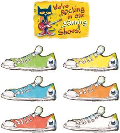 "Pete the Cat We're Rocking in Our Learning Shoes Bulletn Brd - Pete the Cat motivates students to learn with a rockin' classroom bulletin board! Includes ""We're Rocking in Our Learning Shoes"" banner, 36 colorful shoes for student names, ""Cool Zone"" sign, accent pieces, and teacher guide with activities and reproducibles. Set of 46 pieces. Largest piece measures 18"" x 12""."