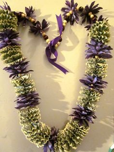 Purple Flowers Graduation Money Lei