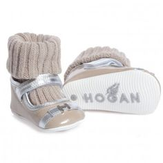 Hogan Shoes Beige Pre Walker Shoes With Attached Sock at Childrensalon.com