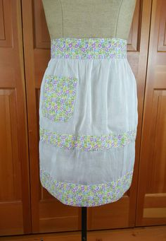 Vintage Apron, Sheer White Fabric with Floral Cotton Bands and Pocket, Half…