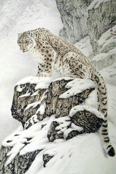 Sneeuwpanter in vertrouwde omgeving