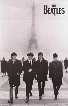 Beatles Eiffel Tower Paris Portrait Poster 22x34