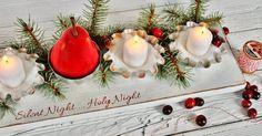 centre de table bougie super original à base de moules à tartelettes, branches de sapin et baies rouges