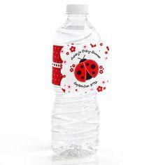 Modern Ladybug - Personalized Baby Shower Water Bottle Label Favors |