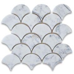 Master Bath Carrara White Grand Fish Scale Fan Shaped Mosaic Tile Honed