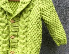 Knit Baby Sweater, Hand Knitted Green Baby Cardigan, Green Baby boy Clothes, New Born Baby Gift for Baby Showers, Cable Knit coat