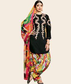 Buy Giselli Monteiro Black Cotton Satin Punjabi Suit 73528 online at lowest price from huge collection of salwar kameez at…