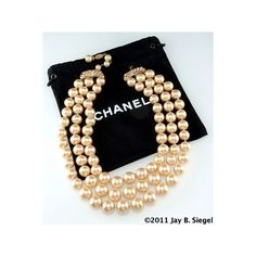 CHANEL Triple Strand Pearl Necklace with Rhinestone Closure found on Polyvore