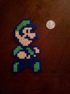 Perler Beads; Luigi, as he appeared in the USA version of Super Mario Bros. 2.