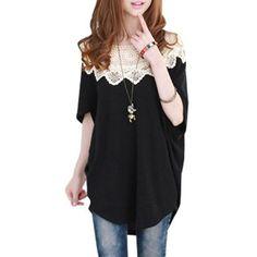 Amazon.com: Allegra K Ladies Scoop Neck Short Bat Wing Sleeve Loose Shirt Black S: Clothing