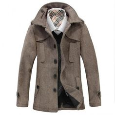 Men's Duffle Coat with Wide Lapel Classical Fashion Style
