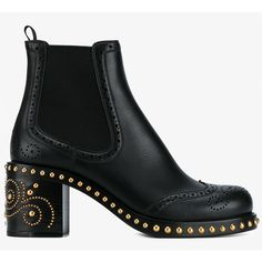 Miu Miu Miu Miu Studded Chelsea Boots (5.805 BRL) ❤ liked on Polyvore featuring shoes, boots, ankle booties, chunky booties, chunky-heel boots, black booties, black boots and chunky black boots