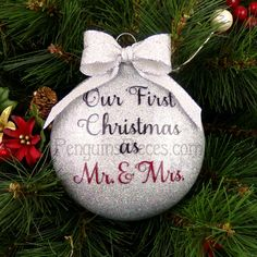 Personalized Our First Christmas Married Glitter Ornament - 1st Mr. & Mrs. Wedding Newlywed Couple's Husband and Wife - Choose Your Colors by PenguinsPieces on Etsy https://www.etsy.com/listing/244615706/personalized-our-first-christmas-married